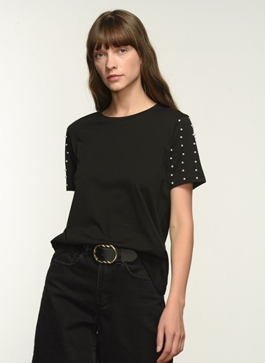 NGSTYLE NGKAW21TS0008 Kol İnci İşlemeli Tshirt Siyah